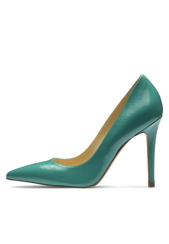 ALINA grün - Lackleder mit Prägung